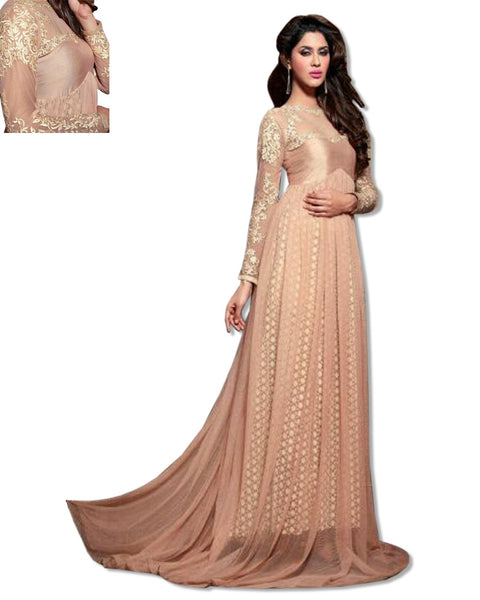 GEORGETTE EMBROIDERED FLOOR LENGTH GOLD DRESS