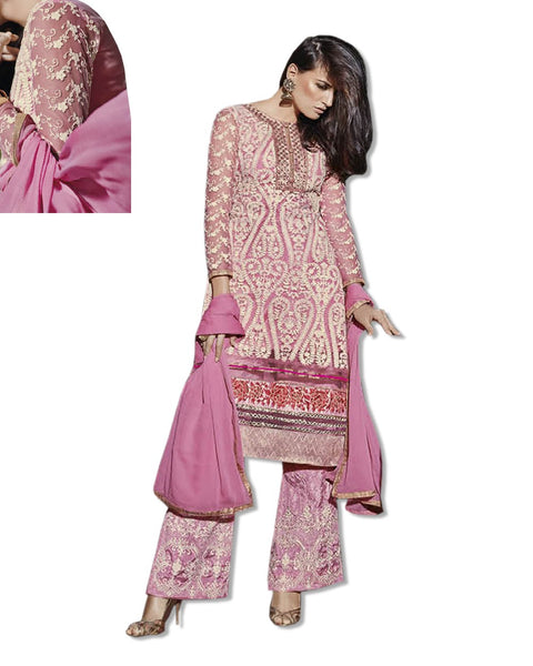 GEORGETTE EMBROIDERED PINK SUIT
