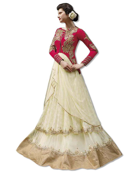 GEORGETTE EMBROIDERED FLOOR LENGTH GOLD RED DRESS