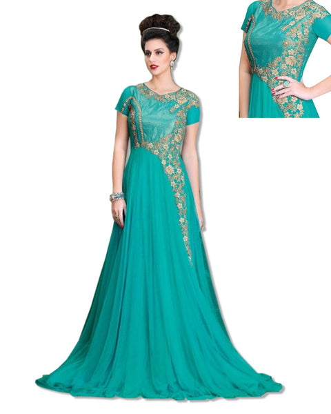 GEORGETTE EMBROIDERED FLOOR LENGTH BLUE DRESS