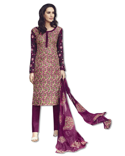 GEORGETTE EMBROIDERED DEEP PINK SUIT