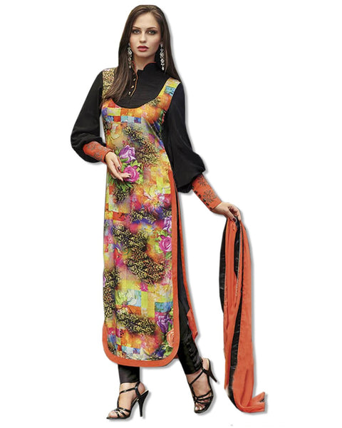 GEORGETTE EMBROIDERED BLACK RED SUIT