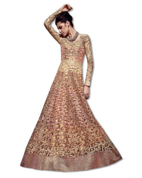 NET EMBROIDERED FLOOR LENGTH GOLD DRESS