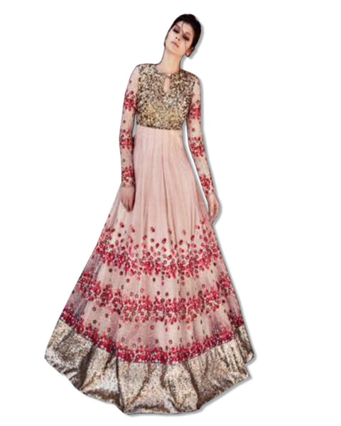 GEORGETTE EMBROIDERED FLOOR LENGTH PEACH DRESS