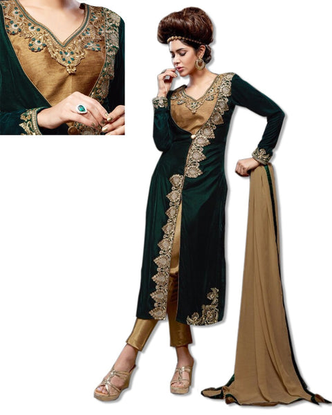 GEORGETTE EMBROIDERED BOTTLE GREEN SUIT