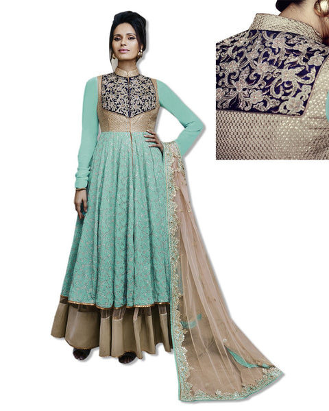 GEORGETTE EMBROIDERED FLOOR LENGTH SEA GREEN DRESS