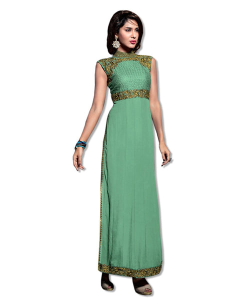 GEORGETTE EMBROIDERED SEA GREEN SUIT