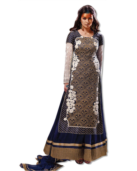 NAVY GREY GEORGETTE EMBROUIDERED LAHENGA SUIT