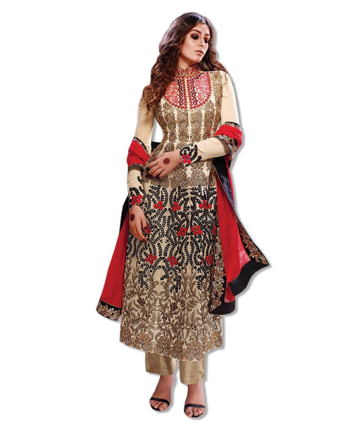 BEIGE RED GEORGETTE EMBROIDERED ANARKALI SUIT