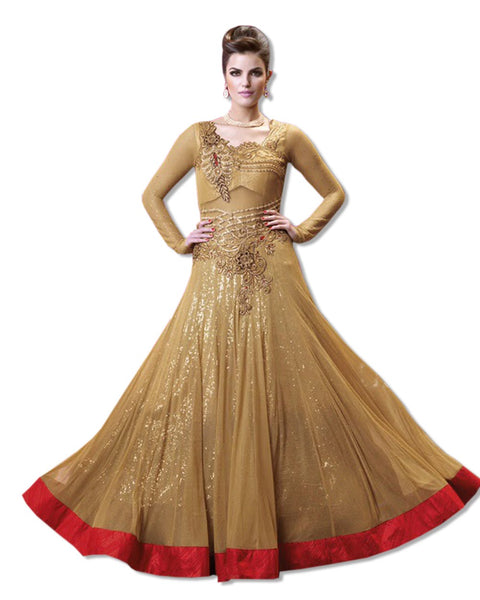 GOLD/RED GEORGETTE EMBROIDERED FLOOR LENGTH DRESS