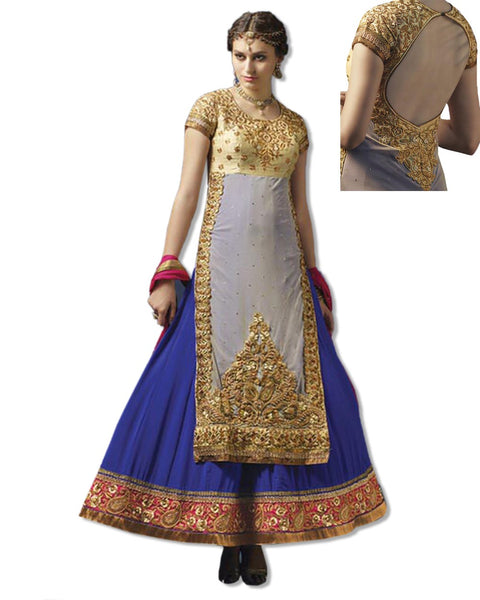 COBALT BLUE AND SKY BLUE GEORGETTE EMBROIDERED LAHENGA SUIT