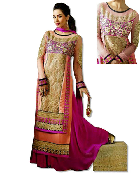HOT PINK GEORGETTE EMBROIDERED LAWN SUIT