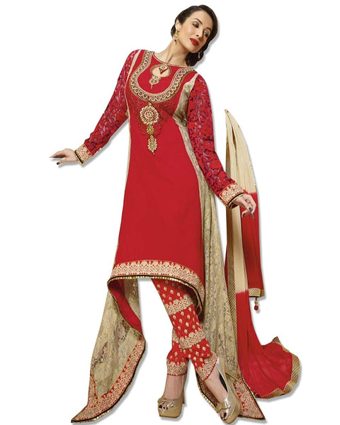 RED GEORGETTE EMBROIDERED SUIT