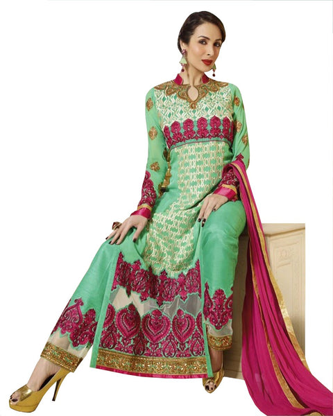 SKY GREEN GEORGETTE EMBROIDERED LAWN SUIT