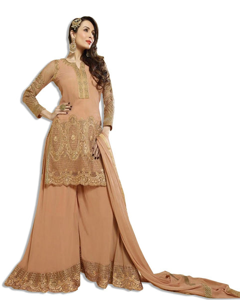 PEACH GEORGETTE EMBROIDERED ANARKALI SUIT