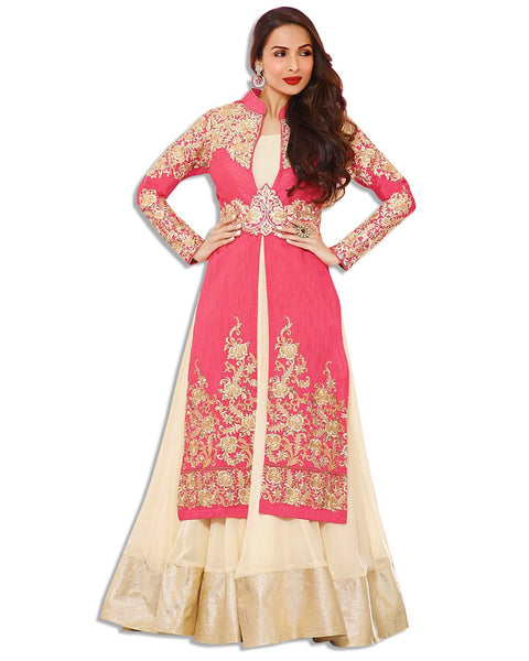 PEACH AND BEIGE NET EMBROIDERED LAHENGA SUIT