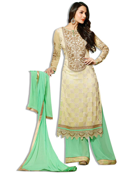 BEIGE AND SKY GREEN GEORGETTE EMBROIDERED LAWN SUIT