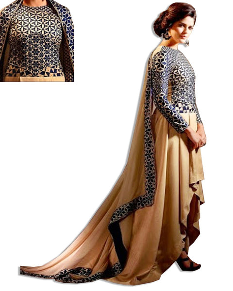 GOLD NAVY GEORGETTE ANARKALI DRESS