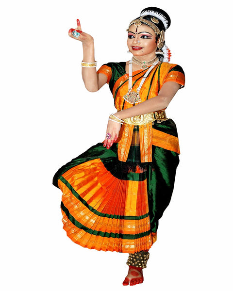 Bharatnatyam Dark Green golden border Dance Costume