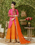 Pink Orange Designer Gown