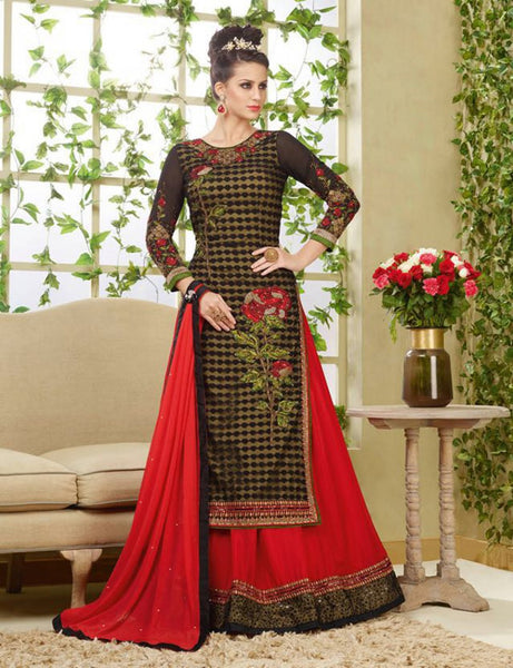 Brown & Red Designer Gown