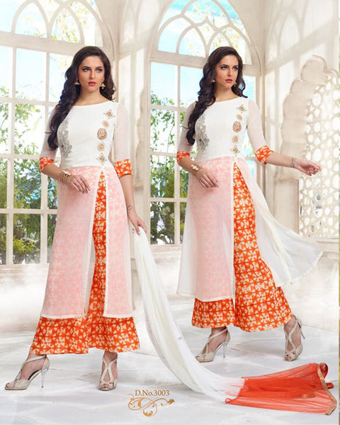 Nazakat White Orange designer  Suit