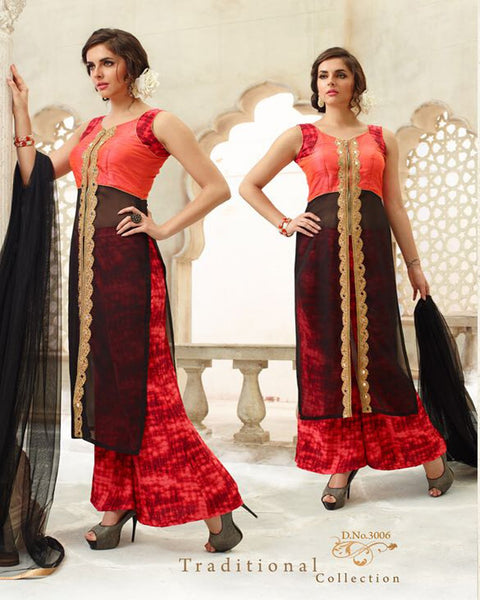 Nazakat Red Black designer  Suit