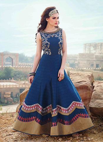 Breathtaking Blue Raw Silk Partywear Anarkali Suit