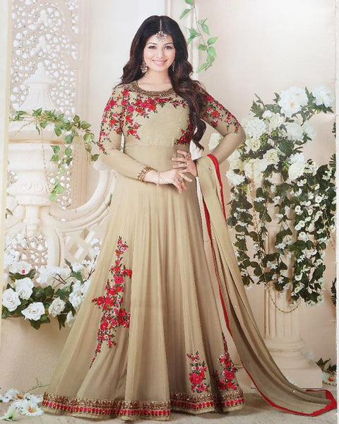 Beige Long Party wear Anarkali Suit