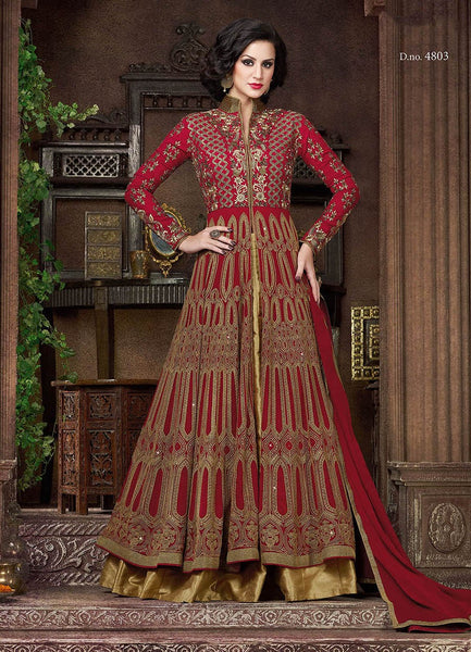 Red Color Heavy Embroidery Anarkali Suits