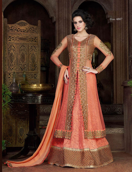 Peach Color Violet Heavy Embroidery Anarkali Suits