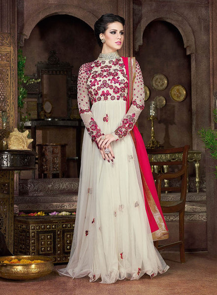 Off White Long Anarkali Gown