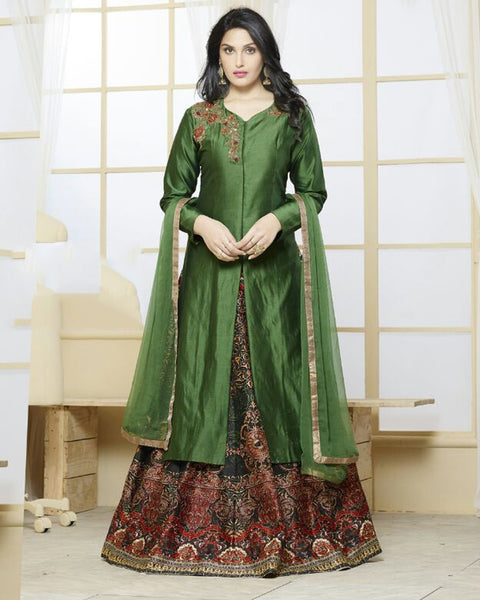 Green Silk Long Suit
