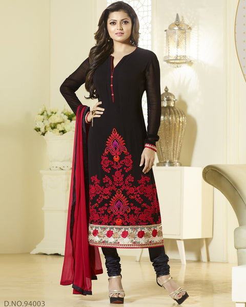 Black Pach border Designer Churidar Suit