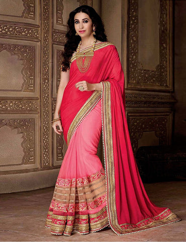Designer Red & Pink Saree