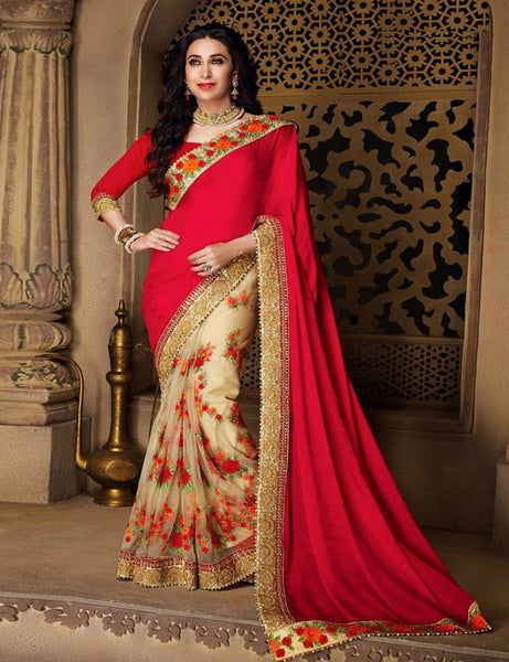 Karishma Kapoor Satin Chiffon Party Wear Saree In Red And Beige