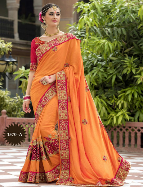 Designer Work Orange & Red Color Saree