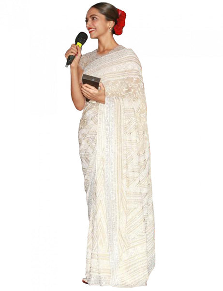 Deepika Padukone Georgette Party Wear Saree In Off White Colour