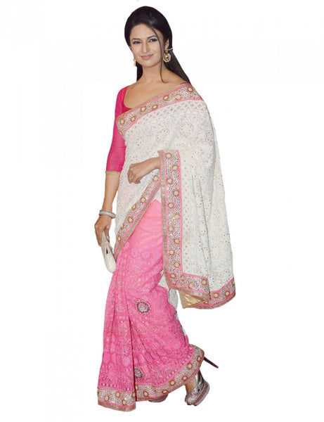 Bollywood Light Pink & white Saree