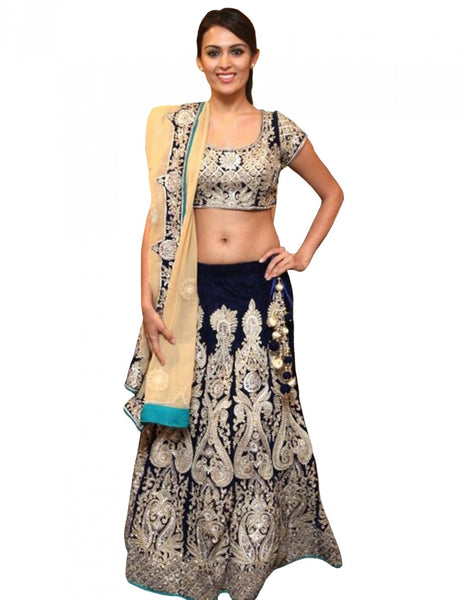 Bollywood Bridal Dark Blue Lehenga Choli
