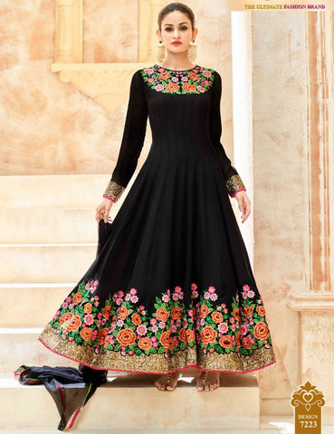 Party Wear Black Georgette Salwar Suit
