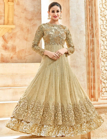Party Wear Golden Georgette Salwar Suit