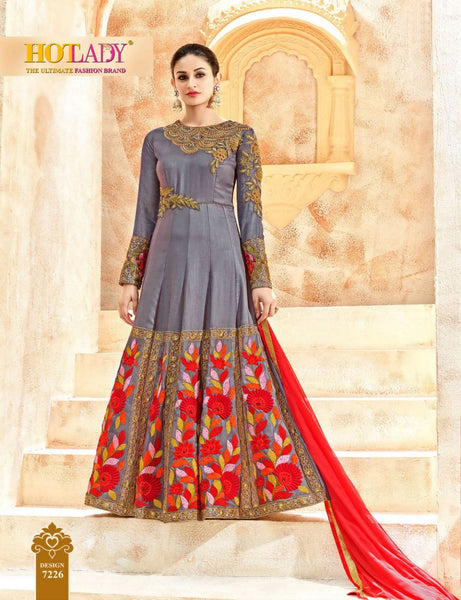 Party Wear Gray Cotton Silk Salwar Suit