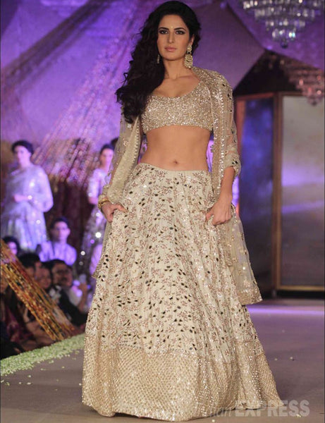 Katrina kaif Banglori Silk Net Party Wear Lehenga Choli In Off W
