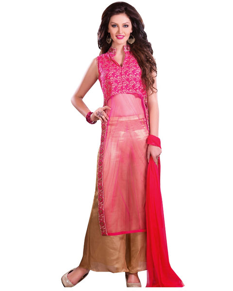 Golden Pink Party wear Palazzo Suit