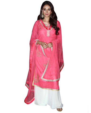Bollyood Pink White Designer Palazzo Suit