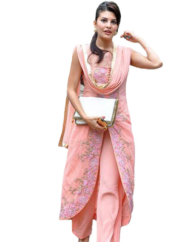 Bollywood Light Pink Long Joket Style Palazzo Suit