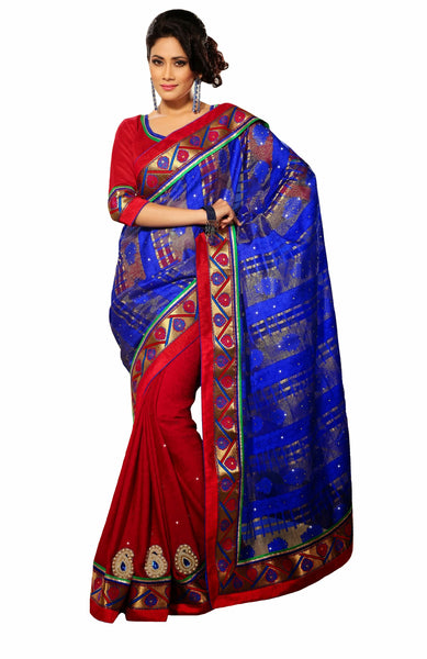 Classic Designer Red/Royal Blue Color Saree