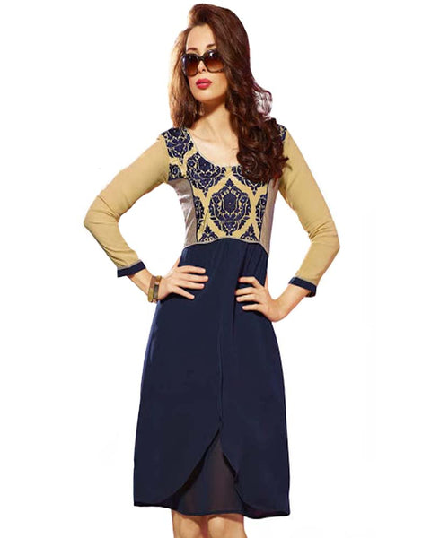 Stylish Dk.Blue Full Embroided Neck Tunic