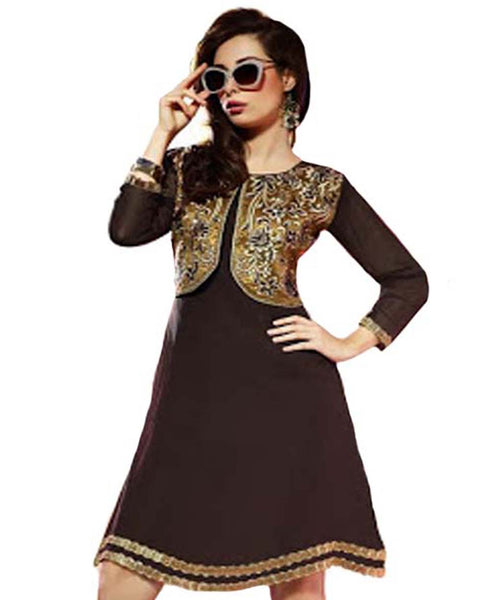 Stylish Look Dk.Brown Jacket Attached Tunic